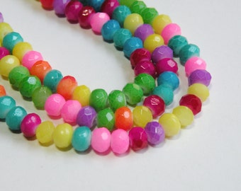 Bright Neon Rainbow Bead Mix faceted glass rondelle beads 6x4mm half strand 06-961