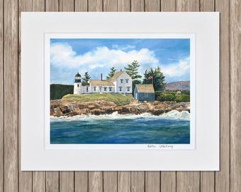 Watercolor Art Print - Mark Island Lighthouse Painting, Schoodic, Acadia, Frenchman's Bay - Downeast Maine Watercolor Seascape Paintings