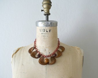 1930s celluloid and nut necklace . vintage 30s wood necklace