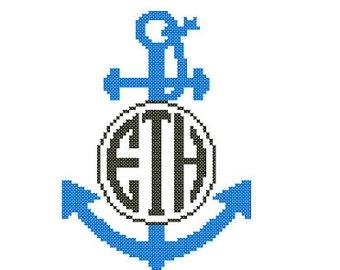 Circle Monogram cross stitch personalize Nautical Anchor Initial Alphabet Gift Home Decor Wedding cross stitch Anniversary