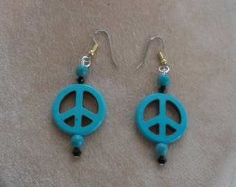 Turquoise Peace Sign Earrings by Brendas Beading on Etsy