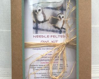 Owl Felting Kit/Needle Felt Kit/Owl/Felting Tutorial/Beginner Felting Kit/DIY Felting Kits/Wool Felting Kit/Felting Supplies/Starter Kit