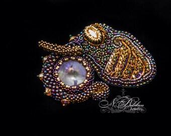 Elephant brooch with purple labradorite. Beaded labradorite. Embroidery. Beadwork purple elephant. Swarovski crystal, sewing se
