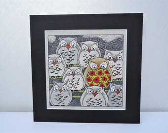 Owls Stamped Coloured Mounted Artwork