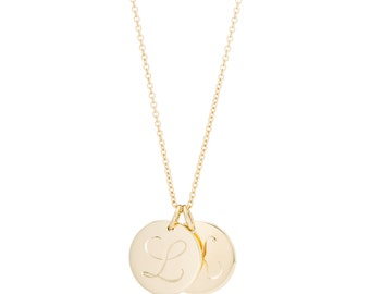Large Hand Engraved 14K Gold Two Initial Necklace, Custom Letter Necklace 2 Charms, made to order for you in 10-12 days