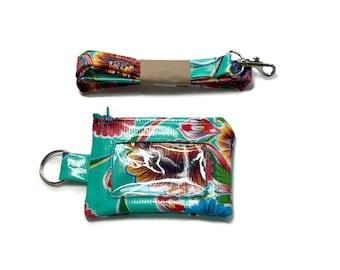 Lanyard  Wallet, Badge Wallet, Lanyard, ID Wallet, Key Ring Bright Blue Red Yellow Flowers