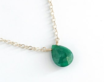 Emerald Necklace - Gemstone Necklace - Green Necklace -  Layered Necklace - May Birthstone - Necklaces for Women - Gift for Mom