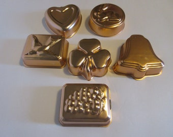 Six Vintage Copper Molds for Jello & Pudding Kitchen Wares Cookware Metal Molds