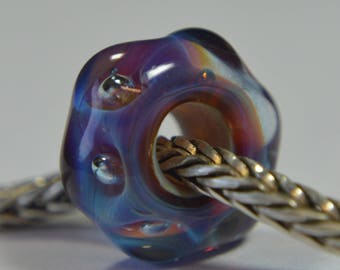 Unique Handmade Lampwork Glass European Charm Bead with Bubbles - SRA - Fits all charm bracelets - Silver Core Options