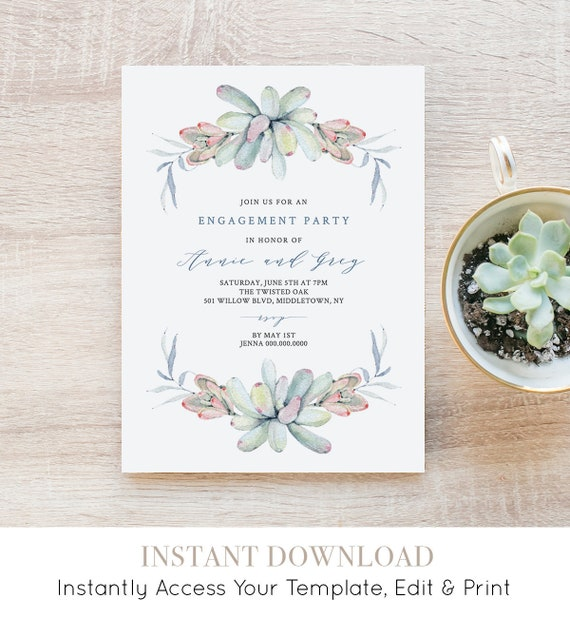 Engagement Party Invitation, Succulent Engaged Announcement, INSTANT DOWNLOAD, 100% Editable Template, Printable, Templett, DIY #041-115EP