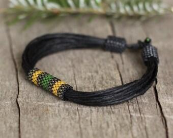 Black Mens Bracelet, Male Bracelet, African Jewelry Men, Men Bracelete, Organic Bracelet Men, Husband Gift Fiber Bracelet, Cord Mens Jewelry