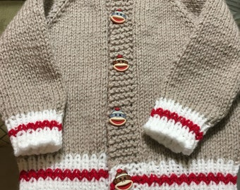 Adorable sock monkey cardigan sweater for 12-18 months old infant