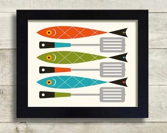 Fish Fry, Mid Century Modern Cooking Art, Fish Art, Spatula Art, Fish and Chips, Modern Kitchen Art, Kitchen Decor Cooking Gift Kitchen Gift