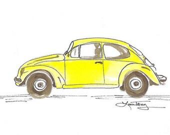 Yellow Punch Buggy Art Print