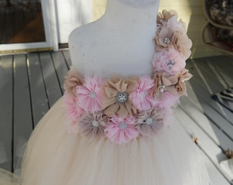 Girls Ivory and pink Dress; Ivory flower girl dress; Custom Girls birthday dress; Custom ivory Easter dress for girls; girls One Strap Dress