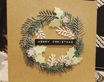 Felt wreath Christmas card