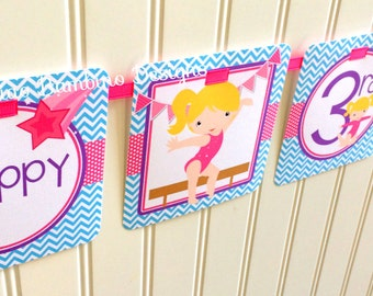 Gymnastics Happy Birthday Banner / Choose Hair Color / Tumbling Party / Pink, Blue and Purple / Personalized with Name & Age