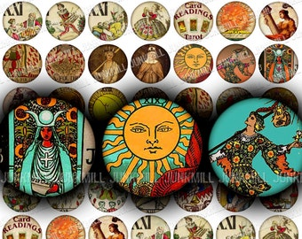 """TINY TAROT - Digital Printable Collage Sheet - Vintage Tarot Cards, Fortune Telling Cards, Occult Magic, 1"""" Circle, 25 mm Round, Download"""