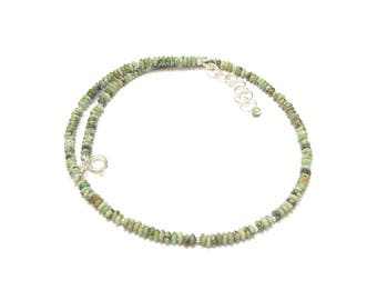 Green Turquoise necklace - natural gemstones and 925