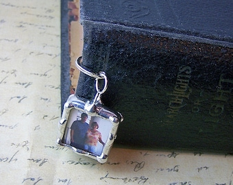 Personalized Photo Bookmark, Soldered Glass Charm, Anniversary Gift, Picture Frame Charm, Photo Gift Keepsake, Wedding Bible Bookmark