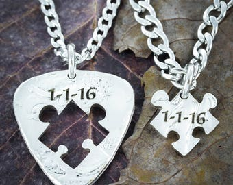 Wedding Date Guitar Pick and Inside Puzzle Piece Necklace, Anniversary Gift, His and Her, Hand Cut Coin