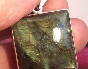 Square  Labradorite Pendant, Sterling Silver, free US ship 39.95