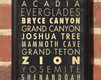 National Parks Wall Art Sign Plaque Gift Present Home Decor Vintage Style Smoky Yellowstone Yosemite Teton Canyon Everglades Classic