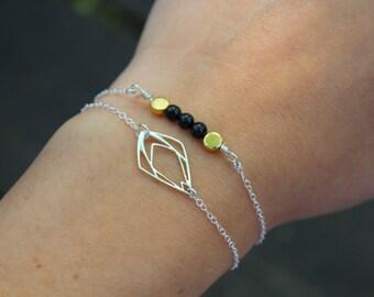 Geometric Teardrop Bracelet, Sterling Silver Bracelet, Minimal Bracelet, Delicate Bracelet, Layering Bracelet