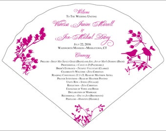 Set of 25+ Birds and Wildflowers Design Wedding Program Fans
