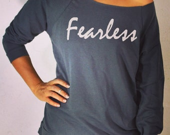Fearless. Women's Sweatshirt. Gym Clothing. Eco-Sweatshirt. Cozy-Off Shoulder Shirt. Sweatshirts.