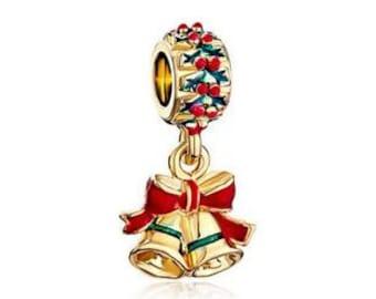 Christmas Bead, Christmas Charm, Large Hole Bead, European Bead, Christmas Bells, Charm Bead, European Charm, Big Hole Bead,Red, Green, Gold