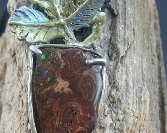 Vintage Arts & Crafts Boulder Opal silver hand crafted pendant necklace
