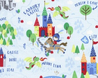 Knights and Castles Scenic from Timeless Treasure's Knight in Shining Armor Collection – C5194 Sky