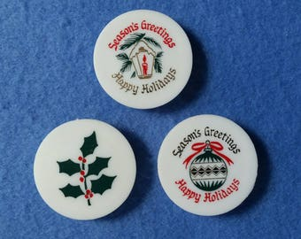 Three Vintage Christmas Magnets, super strong magnets, Christmas ornament, holly, and lantern - season's greetings happy holidays