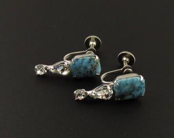 Rhinestone Earrings, Faux Turquoise Earrings