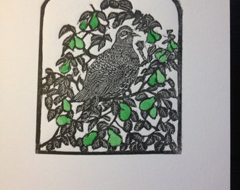 Wood engraving Blank card - printed by hand  titled :- 'A partridge in a pear tree'
