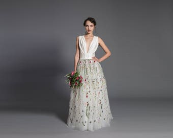 Floral wedding dress etsy floral wedding dress off white maxi tutu tulle skirt lace maxi skirt floral junglespirit Image collections