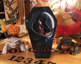 Wood coffin box, Alien keepsake box, Halloween decor