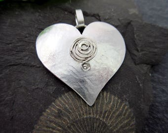 Spiral Heart pendant silver pendant necklace pendant sterling Silver Heart