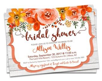 Fall Bridal Shower Invitation, Bridal Shower Invitation Fall Floral, Fall Wedding Shower Invitation, DIY Bridal Shower Invitation Fall