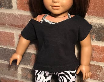 18 Inch Doll Clothes | Zebra Animal Print Leggings / Sports Bra / Black Slouch Shirt