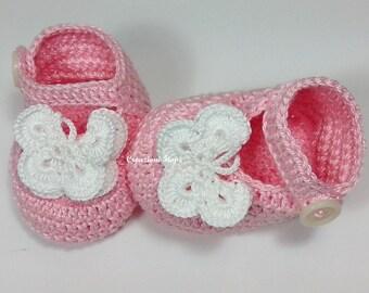 Crochet Baby Butterfly Shoes /Booties / Slippers/ PDF PATTERN 220/ 0-12 monthse/Tutorial Crochet PATTERN Baby Shoes Crochet Booties Baby