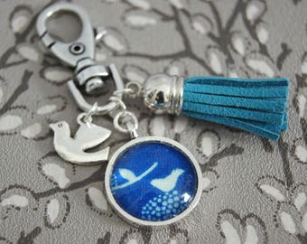 Blue Bird bag charm key chain