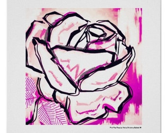 Pink rose print, pop rose flower, best mom flower gift, modern rose flower art print, pink rose flower art, modern pop pink rose print gift