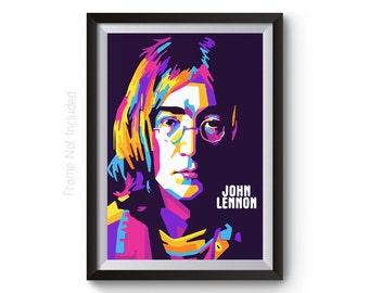 John Lennon Imagine - John Lennon Poster - Music Poster - Wall Art  - The Beatles Poster - Beatles Print - Rock Music Poster - Fan Art