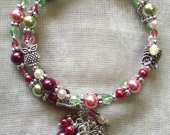 Pink, Green, and Owl Coil Bracelet