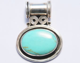 Turquoise and Sterling Pendant Robins Egg Blue LARGE Bail