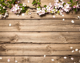 Rustic Wedding Flowers Brown Wood Floor Backdrops Spring Baby Floordrop Party Decorations Banner Photo Studio Props