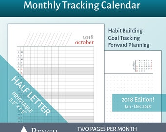 2018 Monthly Tracking Calendar + Dot Grid Notes - Half Letter Junior ARC Circa Planner Printable