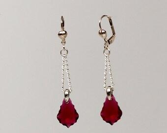 Silver plated ruby red Swarovski crystal dangle earrings